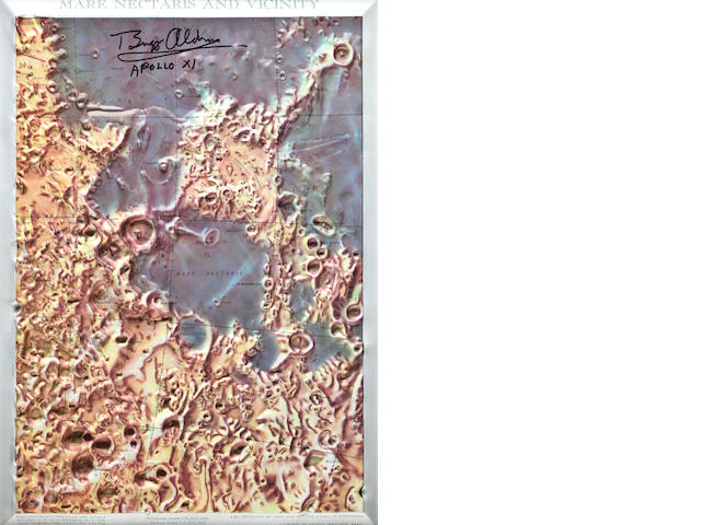 "LUNAR RELIEF MAP—SIGNED BY ALDRIN. ""Mare nectaris and vicinity."" Plastic lunar relief map in color,"