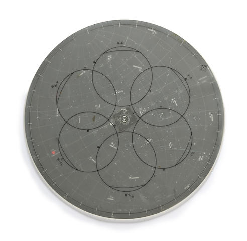 APOLLO 13 TRAINING LUNAR SURFACE STAR CHART. Lunar surface star chart, a circular device,