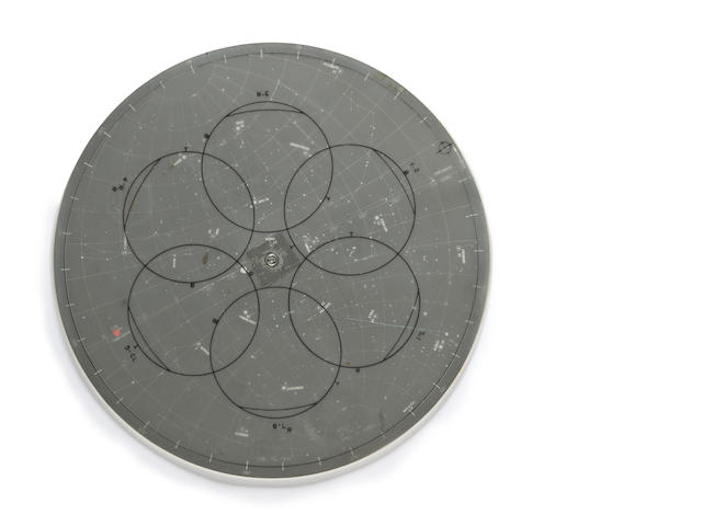 APOLLO 13 LUNAR SURFACE TRAINING STAR CHART. Lunar surface star chart, a circular device,