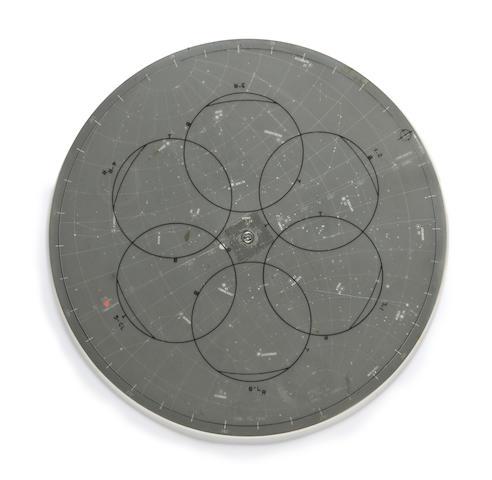 APOLLO 13 LUNAR SURFACE TRAINING STAR CHART. Lunar surface star chart, a circular device,