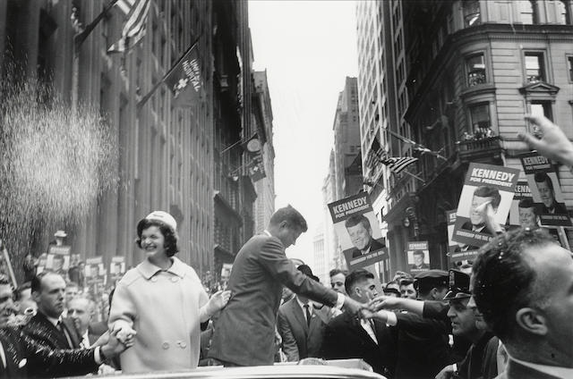 Cornell Capa, JFK and Jackie, New York, 1960, Silver gelatin print, 16 x 20 inches, signed, titled & dated in ink with the photograph's stamp on verso; also signed in pencil on verso
