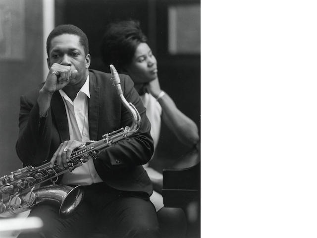 Chuck Stewart, John & Alice Coltrane, Englewood Cliff, New Jersey, April 1966, Gelatin silver print, 20 x 16 inches, Edition 34/100, Signed, titled, dated & numbered in pencil on verso