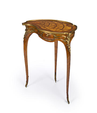 "A Louis XV style gilt bronze mounted marquetry table à ouvrage ""coquille"" François Linke, index number 554 circa 1900"