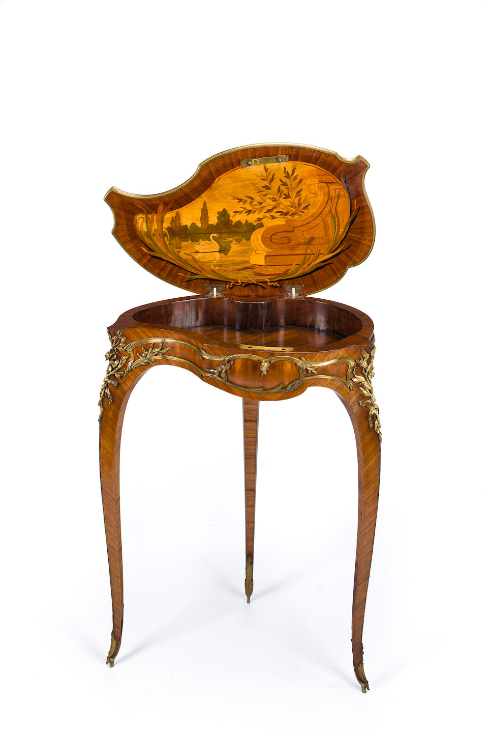 """A Louis XV style gilt bronze mounted marquetry table à ouvrage """"coquille"""" François Linke, index number 554 circa 1900"""