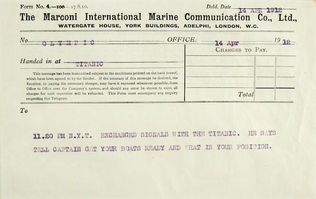 [TITANIC] A Marconi message from R.M.S. Titanic to R.M.S. Olympic<BR /> 14 April 1912 1