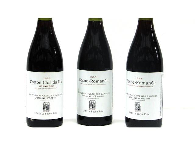Vosne-Romanée 1993 (3)<BR />Vosne-Romanée 1994 (5)<BR />Corton, Clos du Roi 1993 (3)<BR />Corton, Clos du Roi 1994 (1)