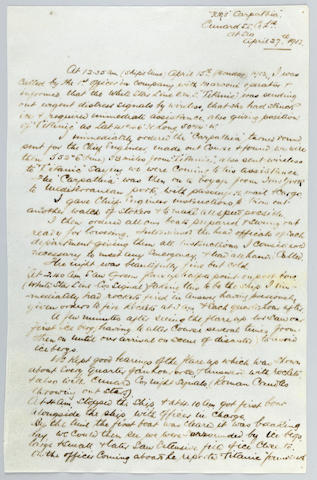 TITANIC DISASTER—CARPATHIA RESCUE EFFORT. ROSTRON, ARTHUR.  1869-1940. Autograph Manuscript Signed, 2 pp, 4to, at sea, April 27, 1912, being Captain Rostron's first hand account of the Titanic disaster,