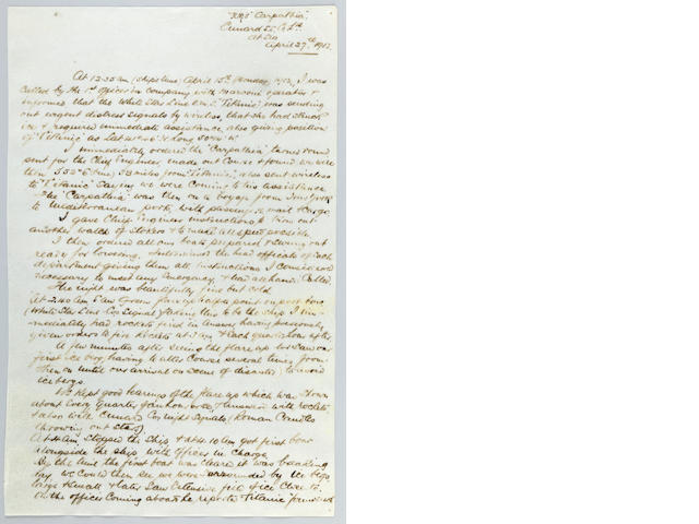 [CARPATHIA] The Rescue Captain's Report: Captain Rostron's hand-written account of the R.M.S. Titanic disaster<BR /> April 27th 1912 12 x 7-1/2 in. (30.48 x 19.05 cm.) each page. 2