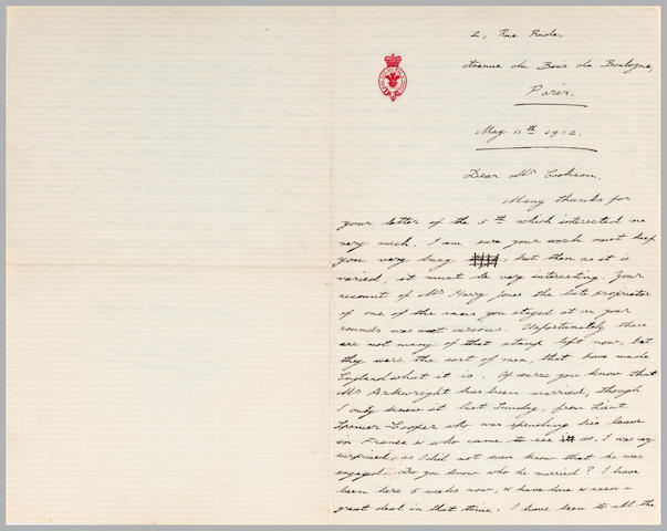 "TITANIC AFTERMATH—WINDSOR, EDWARD, DUKE OF.  1894-1972. Autograph Letter Signed (""Edward""), 3 pp recto and verso, 4to, Paris, May 11, 1912, to Cookson, on Royal stationery, including a mention of the recent Titanic disaster,"