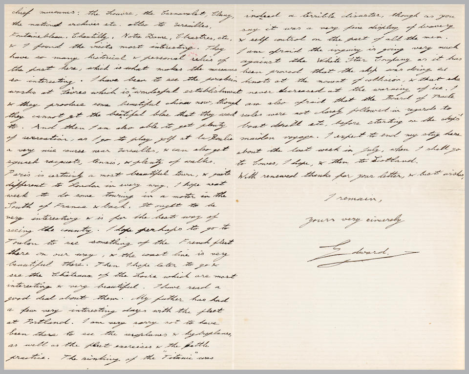 [TITANIC] A letter from the Prince of Wales mentioning the Titanic disaster  7 x 9 in. (18 x 22.8 cm.)