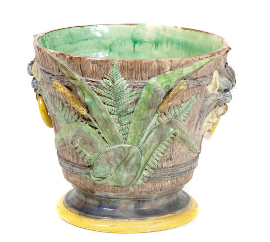 A pair of Continental majolica jardinières