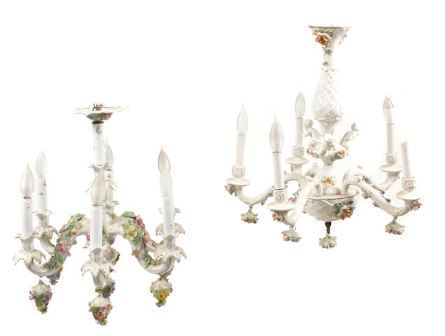 A group of two German porcelain chandeliers
