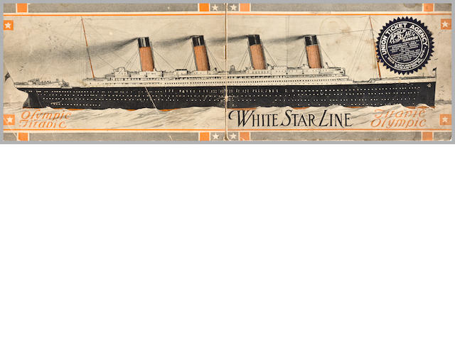 [OLYMPIC-TITANIC] A White Star Line brochure<BR /> circa 1910 5-1/4 x 8-1/2 in. (13.3 x 21.6 cm.)