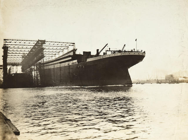 [TITANIC] A pair of photographs of the ship under construction  circa 1911 6 x 8 in. (15.2 x 20.3 cm.) each. 2