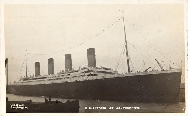 [TITANIC] A R.M.S. Titanic postcard, signed by Jack Phillips  April 6, 1912 3-1/2 x 5-1/2 in. (8.9 x 14 cm.)