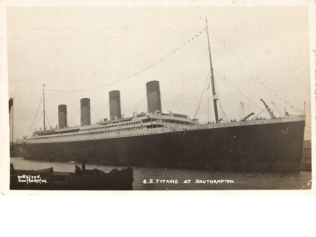 [TITANIC] A R.M.S. Titanic postcard, signed by Jack Phillips<BR /> April 6, 1912 3-1/2 x 5-1/2 in. (8.9 x 14 cm.)