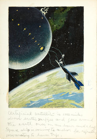 CHESLEY BONESTELL ORIGINAL ILLUSTRATION. Original gouache on artist's board,
