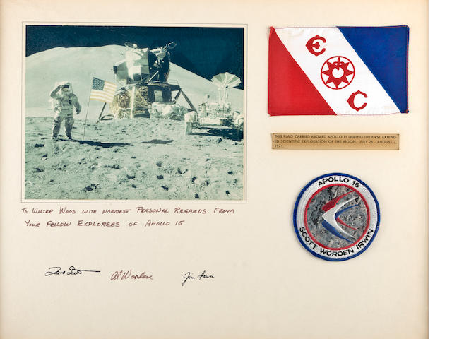Apollo 15 flown flag in frame with signatures of Astronauts
