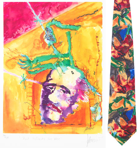 "Jerry Garcia lithograph, ""Poets Reflect the War,"" used to create the design for the tie of the same name, with J. Garcia Limited Edition ""Poets Reflect the War"" tie"