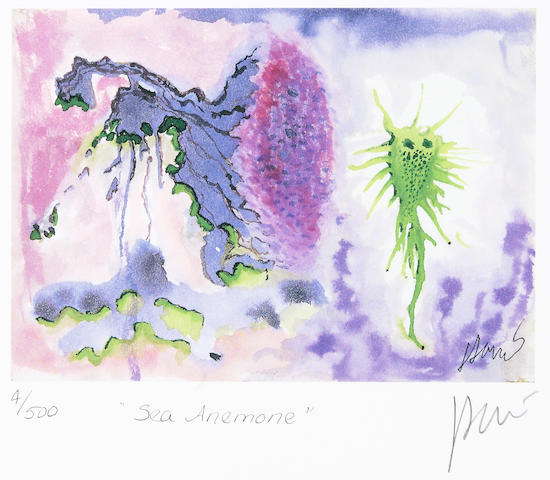"Jerry Garcia lithograph, ""Sea Anemone,"" used to create the design for the tie of the same name"