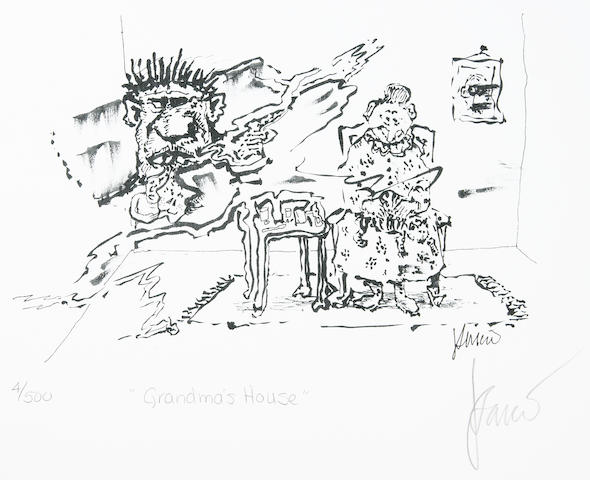 "Jerry Garcia lithograph, ""Grandma's House,"" used to create the design for the tie of the same name"