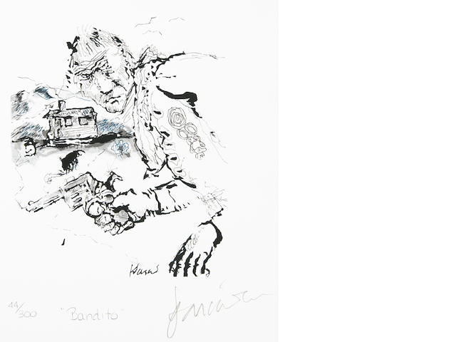 "A Jerry Garcia lithograph, ""Bandito,"" used to create the design for the tie of the same name"