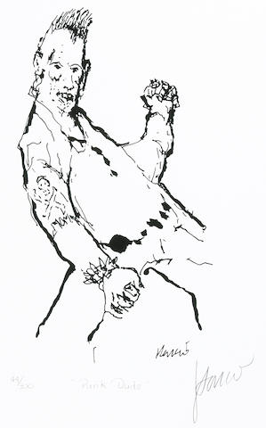 "A Jerry Garcia lithograph, ""Punk Dude,"" used to create the design for the tie of the same name"