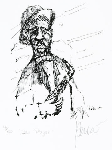 "A Jerry Garcia lithograph, ""Sax Player,"" used to create the design for the tie of the same name"