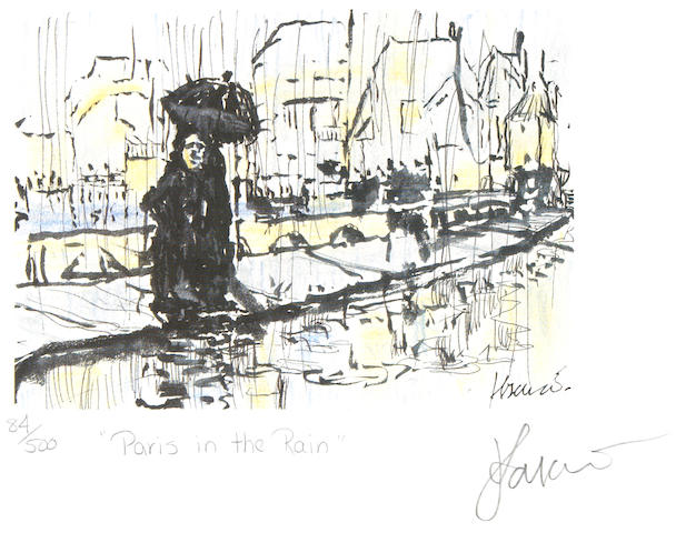 "A Jerry Garcia lithograph, ""Paris in the Rain,"" used to create the design for the tie of the same name"