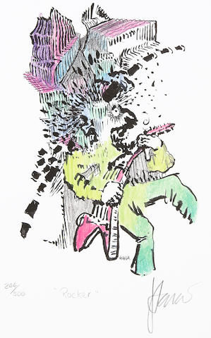 "A Jerry Garcia lithograph, ""Rocker,"" used to create the design for the tie of the same name"