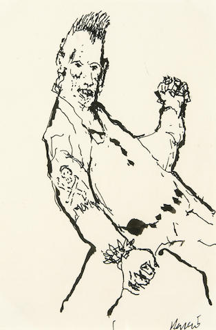 "A Jerry Garcia original pen and ink drawing, ""YO,"" the prototype for ""Punk Dude"""