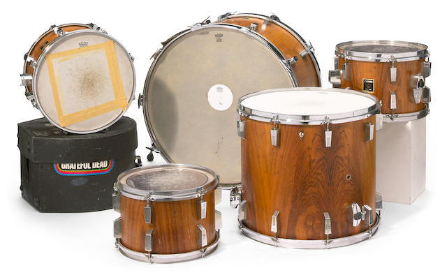 Billy Kreutman's 5-piece Remo drum set and one drum case, used while playing with the Grateful Dead