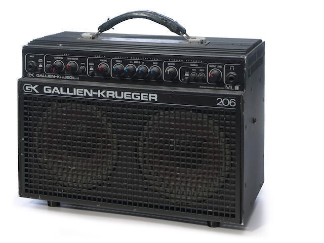 An owned and used Jerry Garcia Gallien-Krueger 206 practice amp with photo of Garcia using it backstage