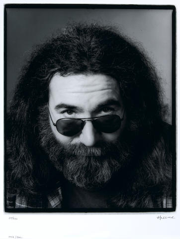 Photograph by Herb Greene of Jerry Garcia, 1979, signed by Greene, being an image used for a cover of Rolling Stone magazine