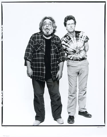 Photograph by Herb Greene of Jerry Garcia and Phil Lesh, 1987, signed by Greene