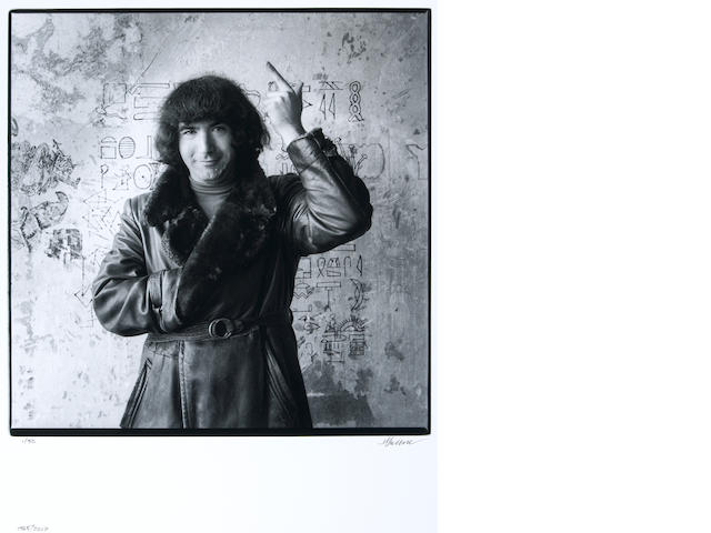 Photograph by Herb Greene of Jerry Garcia, 1965, signed by Greene
