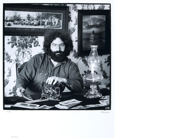 Photograph by Herb Greene of Jerry Garcia, 1969, signed by Greene