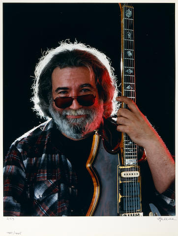 Photograph by Herb Greene of Jerry Garcia, 1987, signed by Greene