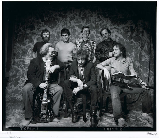 Photograph of Bob Dylan and the Grateful Dead by photographer Herb Greene, signed by the artist