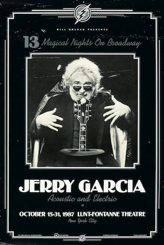 "A poster of ""13 Magical Nights on Broadway/Jerry Garcia/Acoustic and Electric,"" Lunt-Fontane Theater, New York City, October 15-31, 1987, owned by Jerry Garcia's brother, Clifford ""Tiff"" Garcia"