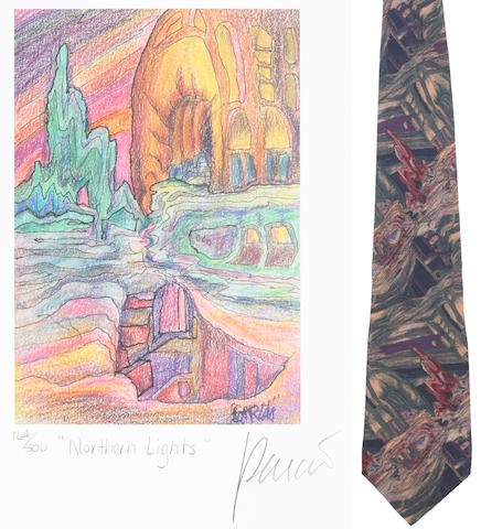 "A Jerry Garcia lithograph, ""Northern Lights,"" used to create the design for the tie of the same name, with J. Garcia Limited Edition ""Northern Lights"" tie"