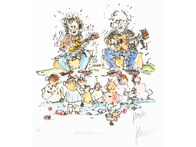 "A Jerry Garcia lithograph, ""Grisman and Garcia,"" gifted to his brother and sister-in-law, Clifford ""Tiff"" Garcia and Gayle Garcia"