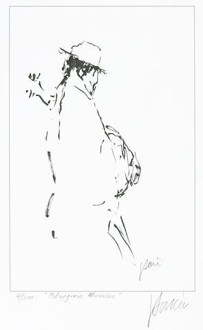 "A Jerry Garcia lithograph, ""Blue Grass Musician,"" used to create the design for the tie of the same name"