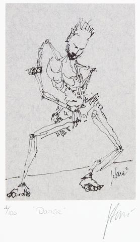 "A Jerry Garcia lithograph, ""Danse,"" used to create the design for the tie of the same name"