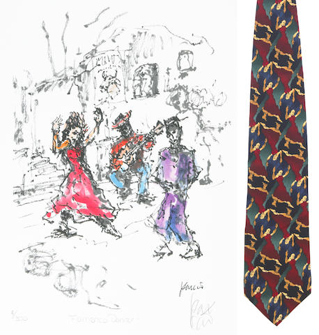 "A Jerry Garcia lithograph, ""Flamenco Dance,"" used to create the design for the tie of the same name, with J. Garcia Limited Edition ""Flamenco Dancer"" tie, [1993]"