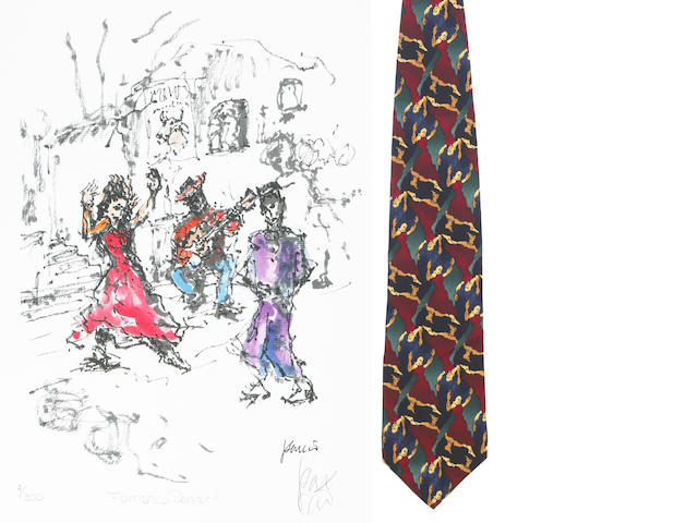 "A Jerry Garcia lithograph, ""Flamenco Dance,"" used to create the design for the tie of the same name, with J. Garcia Limited Edition ""Flamenco Dancer"" tie"