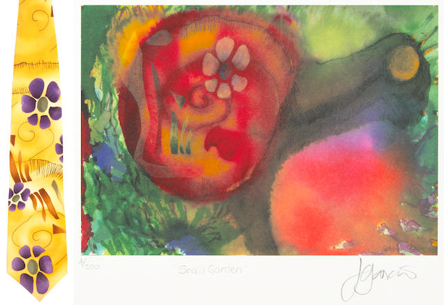 "A Jerry Garcia lithograph, ""Snail Garden,"" used to create the design for the tie of the same name, with J. Garcia Limited Edition ""Snail Garden"" tie"