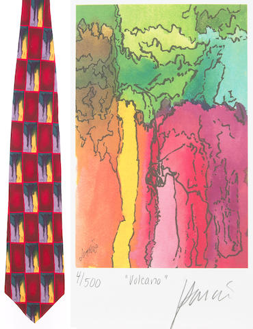 "A Jerry Garcia lithograph, ""Volcano,"" used to create the design for the tie of the same name, with J. Garcia Limited Edition ""Volcano"" tie"