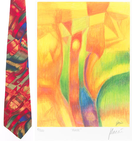 "A Jerry Garcia lithograph, ""Nude,"" used to create the design for the tie of the same name, with J. Garcia Limited Edition ""Nude"" tie"