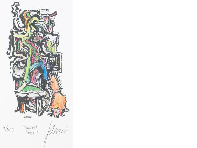 """A Jerry Garcia lithograph, """"Squirrel Maze,"""" used to create the design for the tie of the same name, with J. Garcia Limited Edition """"Squirrel Maze"""" tie"""